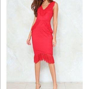 NWT Lace Ruffle Midi dress From Nasty Gal Sz 10